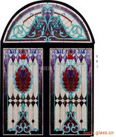Customized ornamental curved top stained glass catheral church windows panels with alu frame and tempered glass insulatd