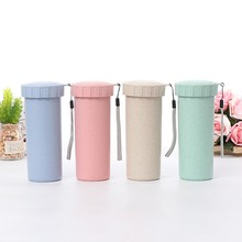HOT Travel Sport Plastic Mugs Eco-friendly sealed cup drinking water Water Bottle Wheat Straw Plastic Cup