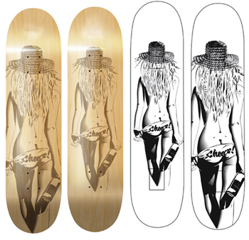 Laser Sculptured longboard deck skateboard