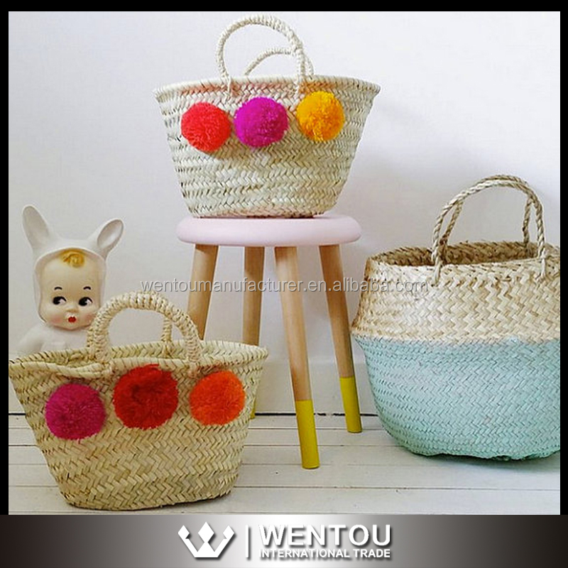 Wholesale Mini Straw Tote Bag Mini Pom Pom Moroccan Straw Basket Beach woven straw Tote Bag