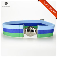 Striped Interlock Buckle Men's Waist Polyester Belt