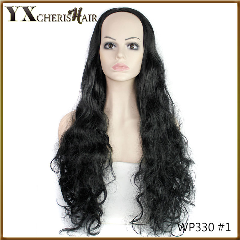 "YX New Fashion 32"" Long Black Cosplay Wigs Ladies' Curly Wigs Synthetic Half Wigs Hair Extensions"