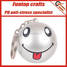 Great promotional gift smiley stress ball pu keyring