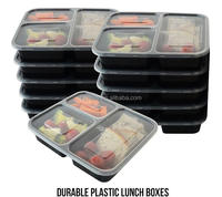 3 Compartment Plastic Meal Prep Containers Food Storage - 10 packs