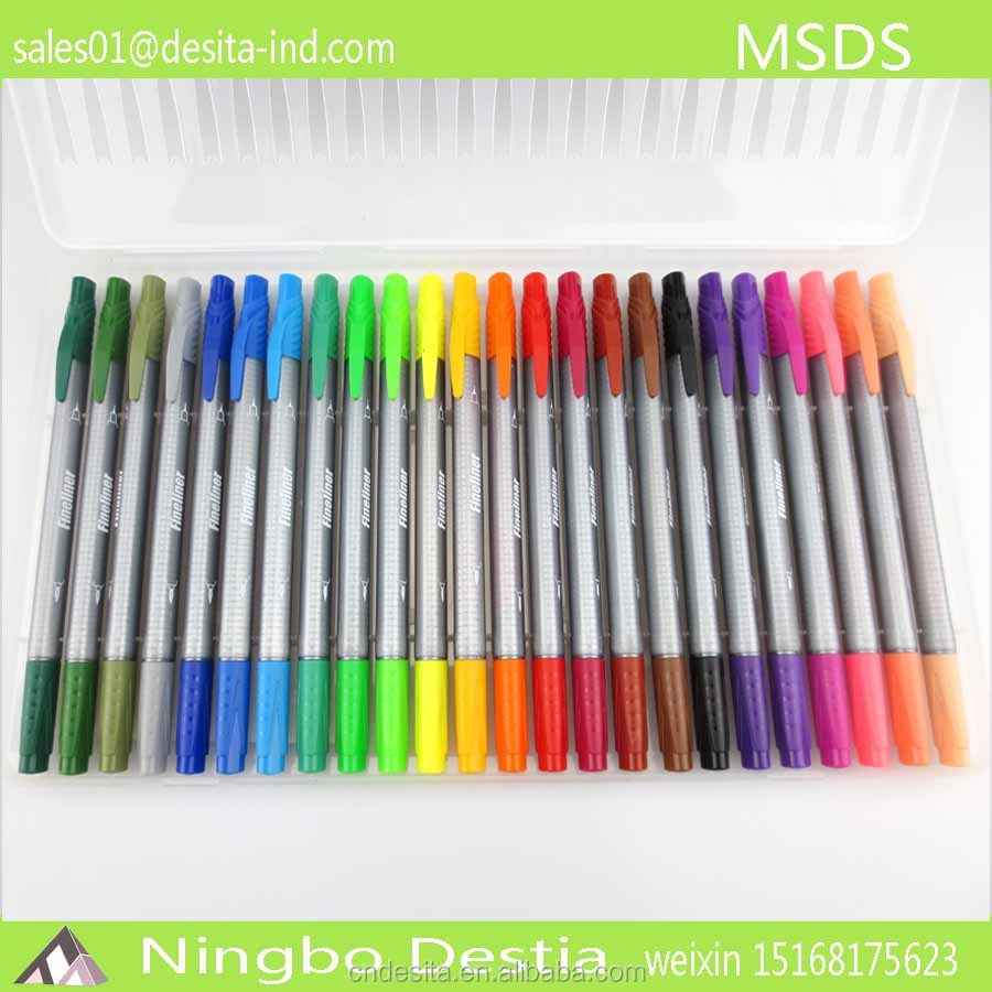 24 color fine liners for kids pen in clear box colorful OME
