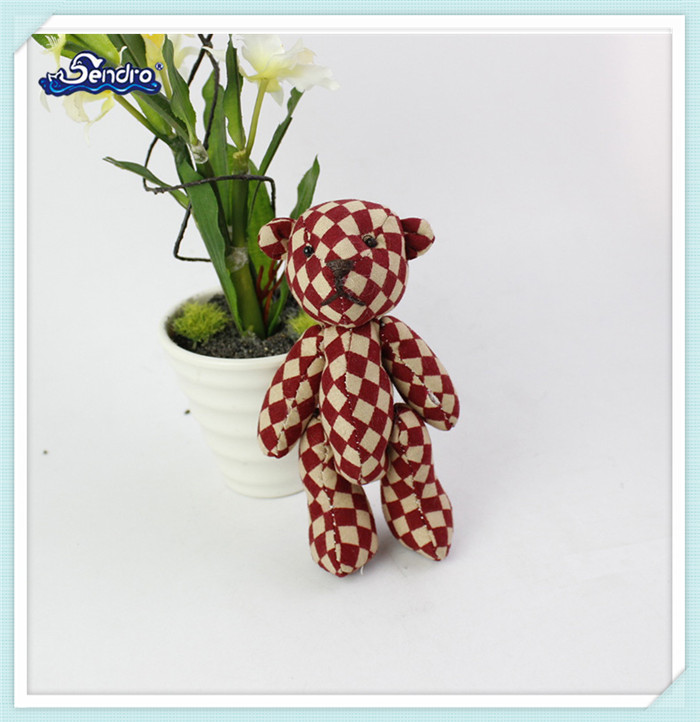 popular grid cloth stuffed plush jointed teddy bear keychain