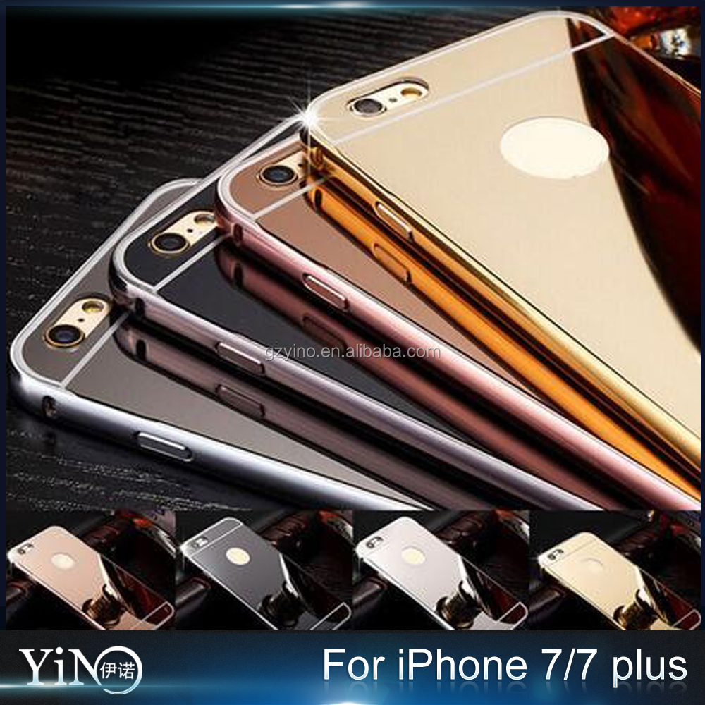 aluminum bumper mirror PC phone case for iphone 7plus , for iphone 7 plus cover case