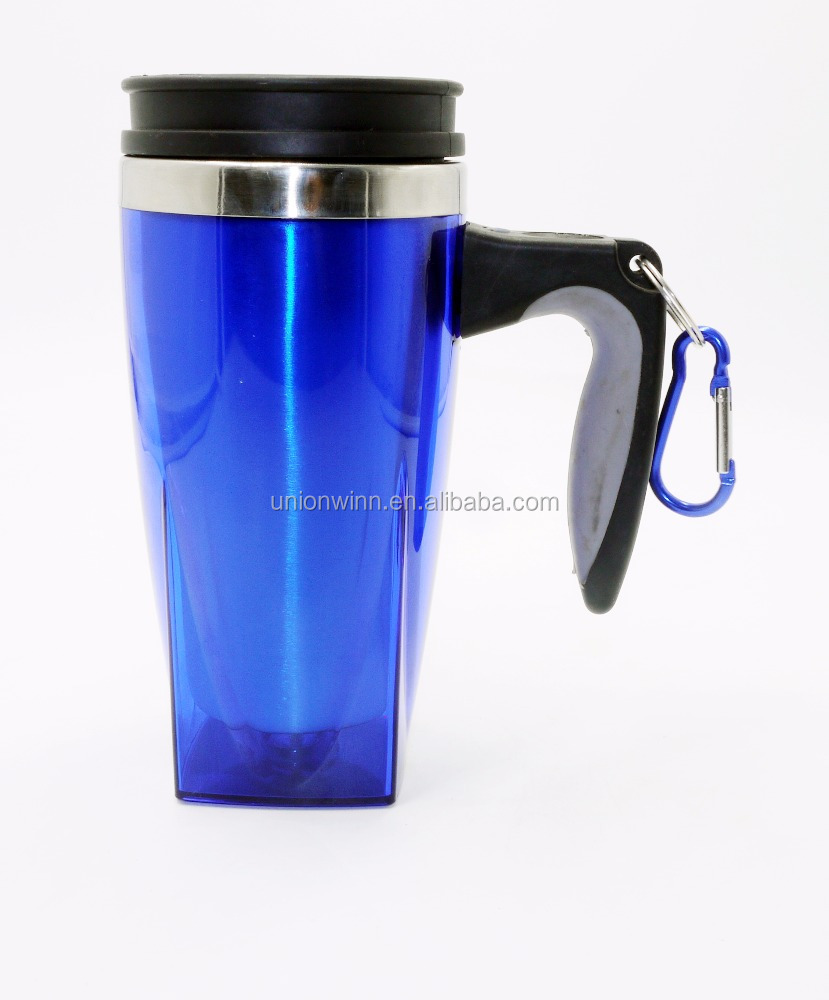 Customized logos stainless steel travel mug with push bottom lid