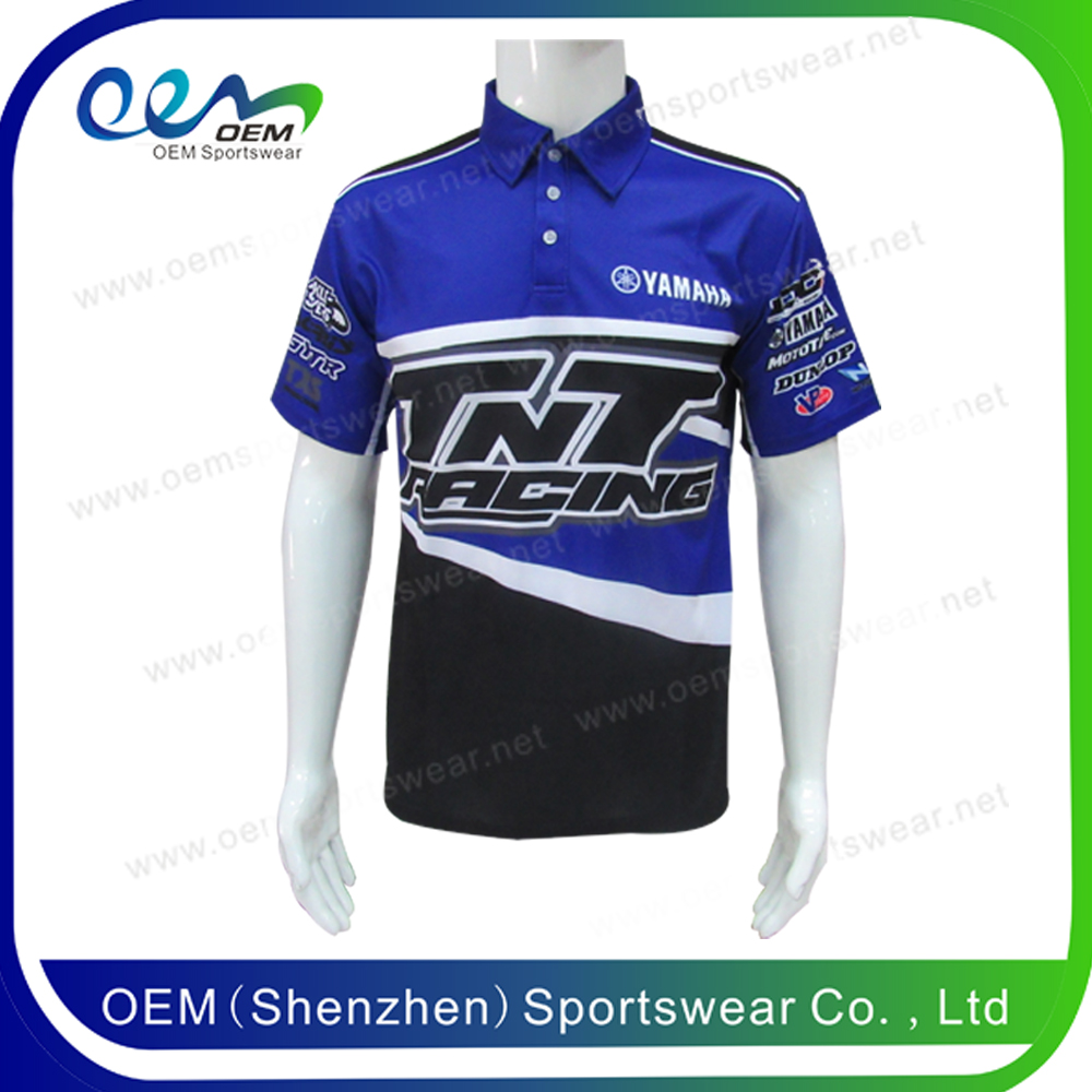 Wholesale sublimation print motorcycle racing polo shirts