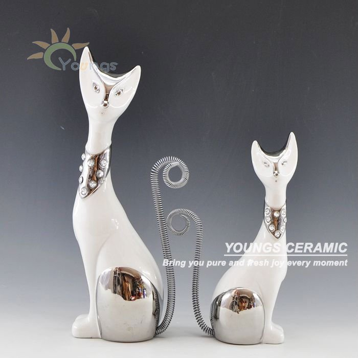 Ceramic Craft White Cat For Gift Or Home Decor