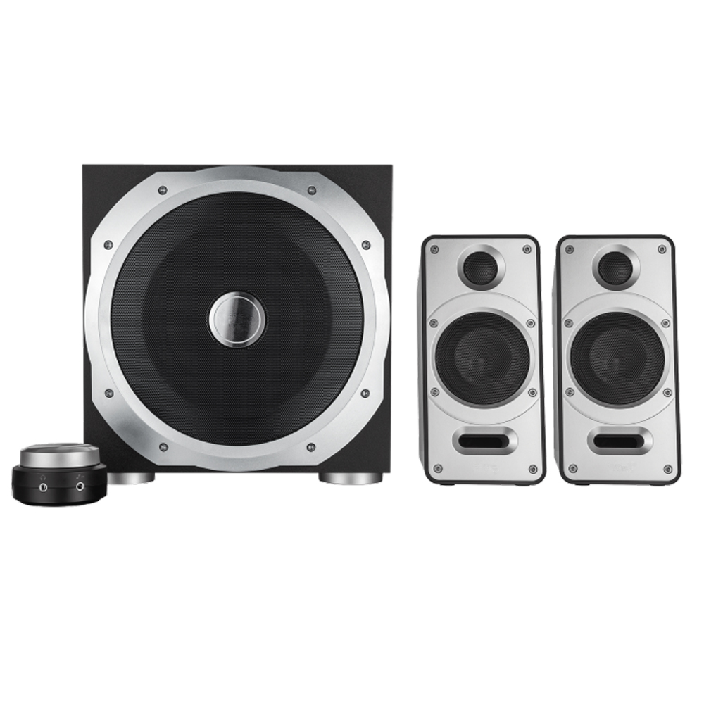 Powerful 2.1 Speaker Set Including Wooden Sub-woofer with Two Satellites and A Total Power Output of 120 Watt