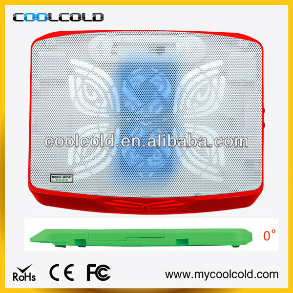 Coolcold portable two cooling fan with led light laptop cooling stand