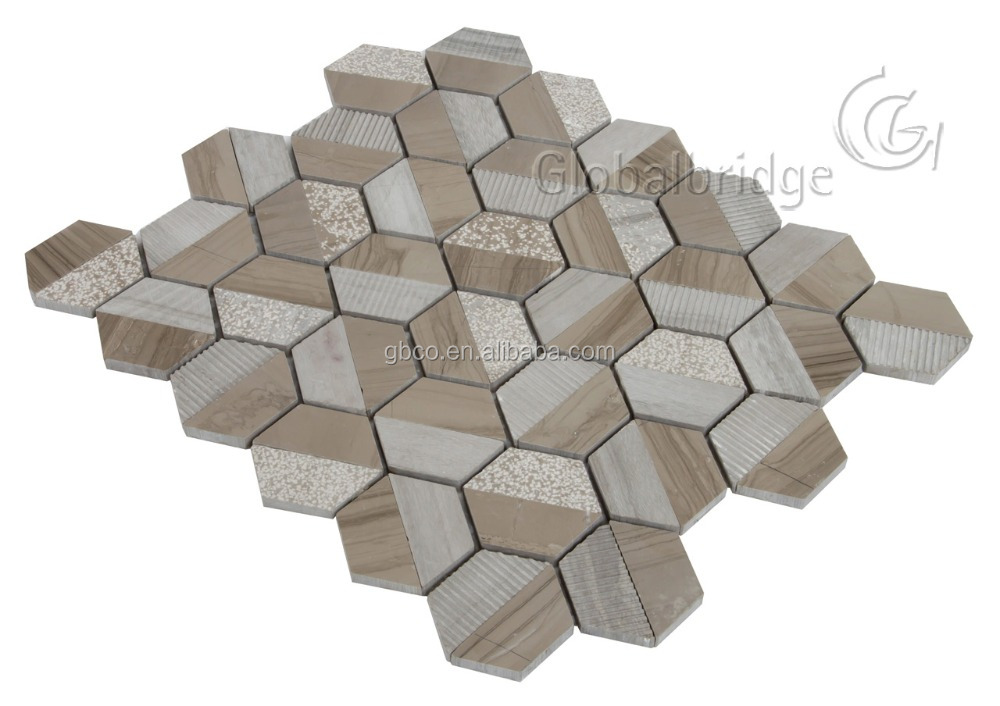 Wood brown hexagon stone mosaic tiles for backsplash decoration