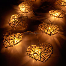 LED Battery Operated Rattan Heart String/Fairy Lights