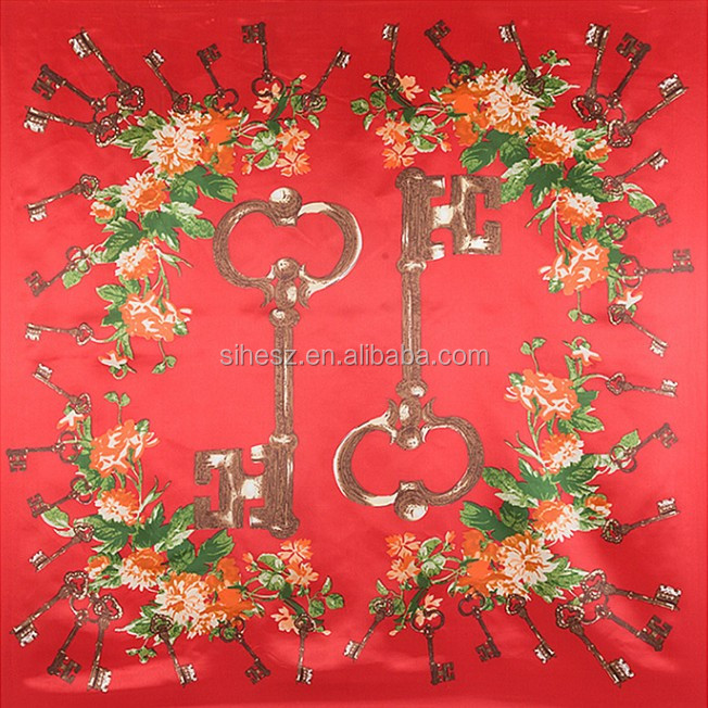 women's twill silk square red rose scarf Keys pattern scarves