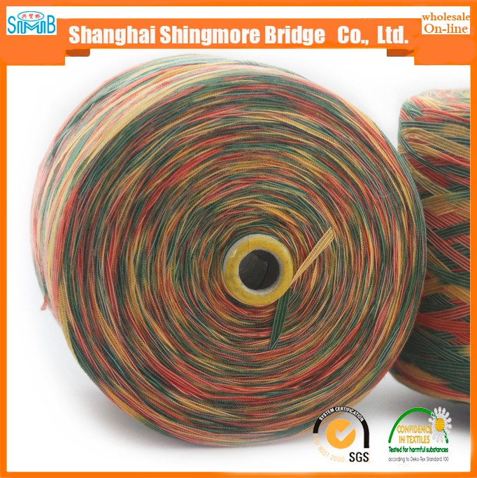 Hot wholesale 1/3.2Nm 62%Acrylic 38%Nylon space dyed tape yarn for hand knitting with oeko tex quality
