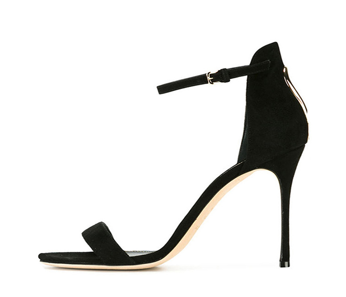 classic style sexy women leather sole black Suede high heel Sandals