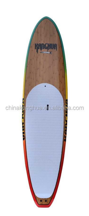 OEM different size 10'6'' bamboo design SUP with colorful EVA 3M deck pad/FCS central and side fins