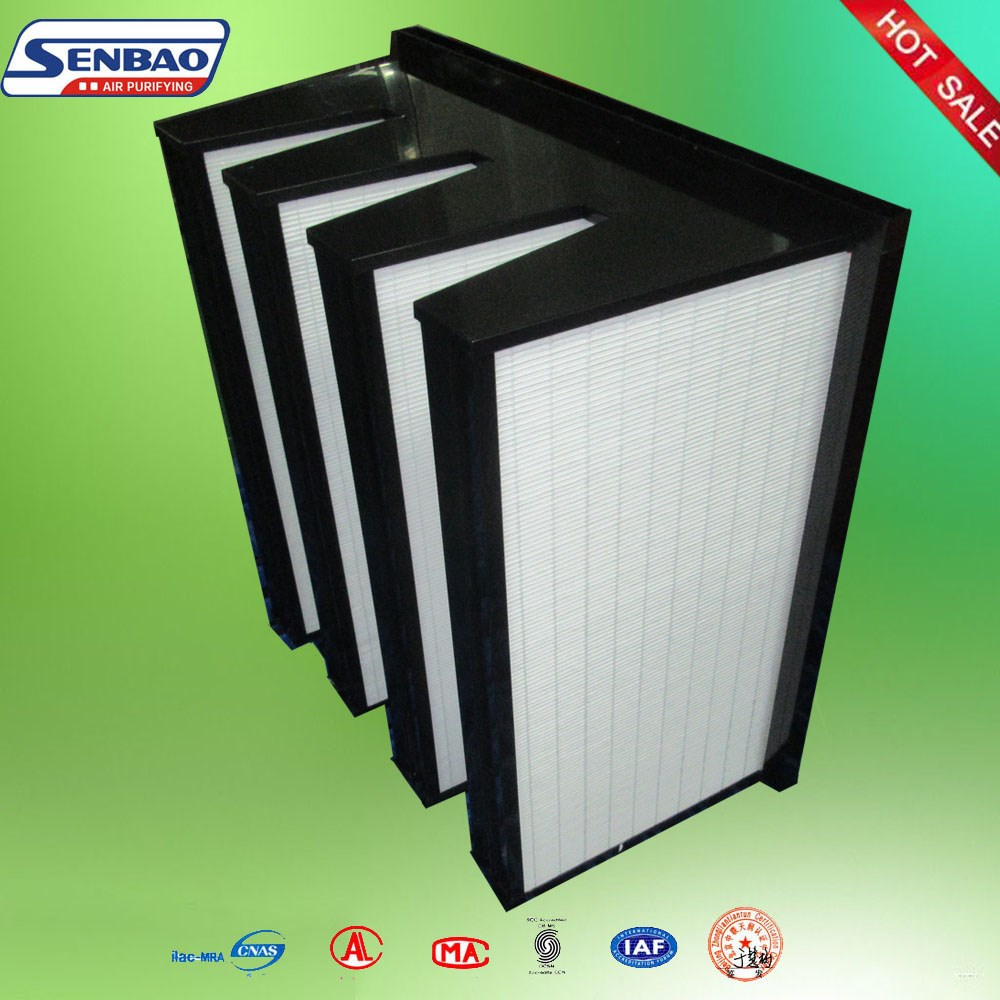 HVAC System Plastic Frame V Bank High Efficiency Air Filter Unit