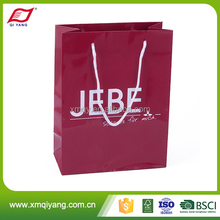 Luxury custom perfect quality red color craft paper bag with flat bottom