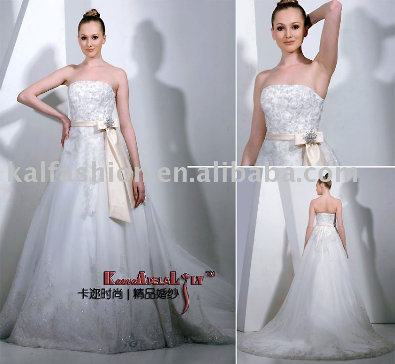 EB6001 organza silver lace thick underpining satin top quality wedding dress wedding gown bridal dress regal