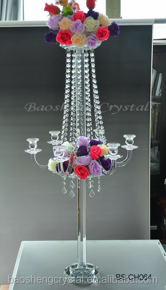 2016 Hot! 98cm Tall Double-use 5 Arms Crystal Candelabra for Wedding Centerpiece (BS-CH066)