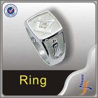 Custom Titanium Silver Masonic ring