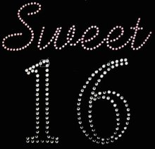sweet 16 birthday number rhinestone transfer designs