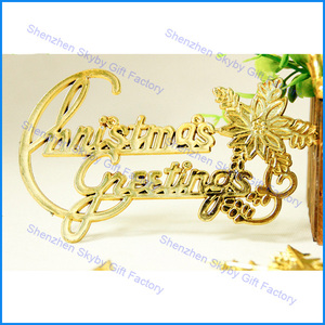 Gold Flower Enghish Letters Christmas Tree Ornament