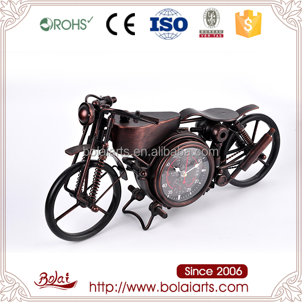 Metallic rust motorcycle shape design classic table clock