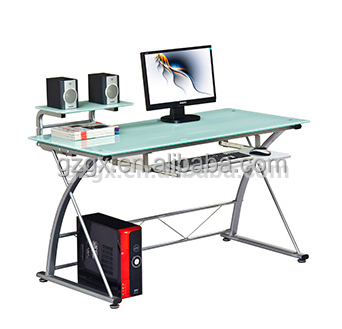 HOT White High Gloss Tempered Glass Computer Desk