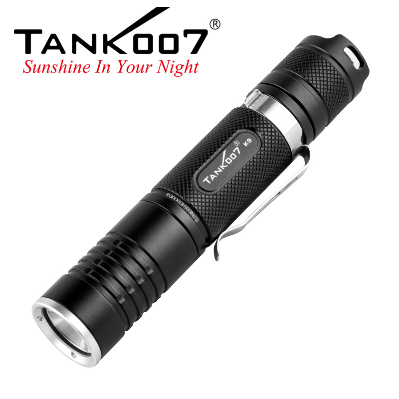 Newest High power waterproof 800 lumen led rechargeable led flashlight with 18650 battery K9