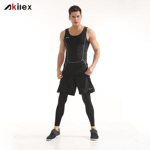 Wholesale custom design your own breathable dry fit active singlet and pants fitness clothing for gym men