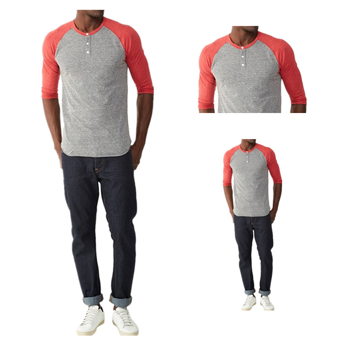 TS1709 Red/Grey Men's Henley Shirt Raglan Sleeve 3/4 Sleeve Shirts