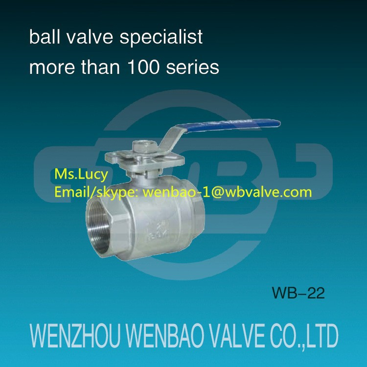 WB-22 High platform ball valve /2-pc full bore casting body ball valve