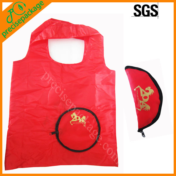 Promotional reusable 190T polyester foldable bag for shopping