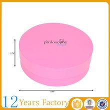 Round shaped paper custom printed pink hat boxes