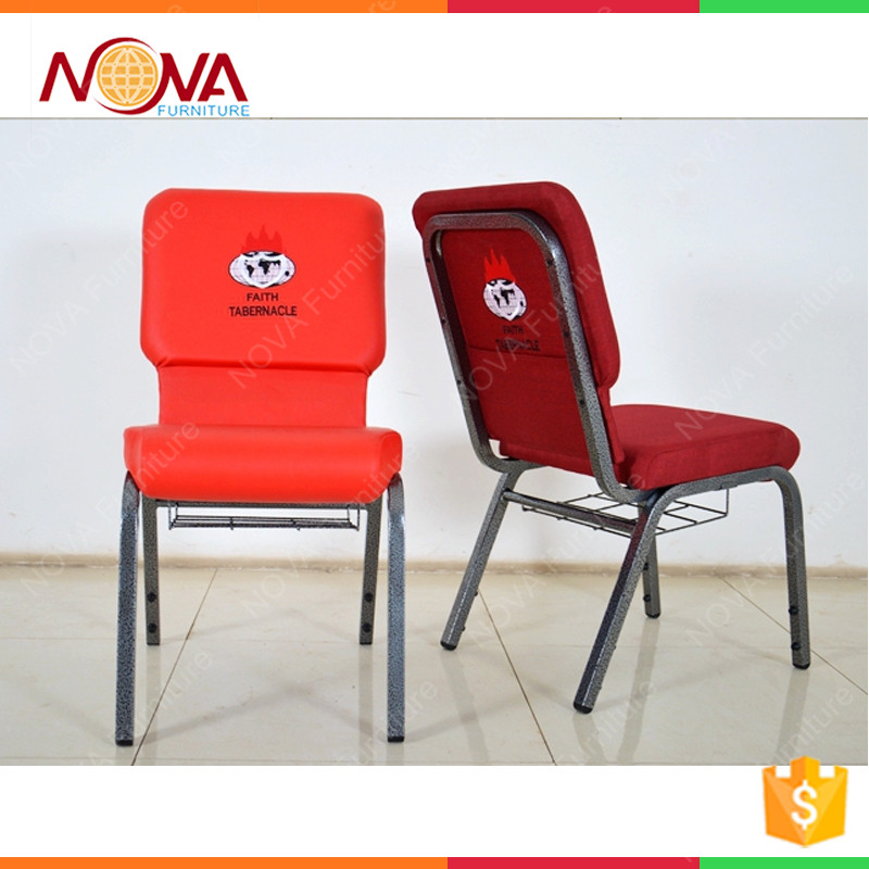 Commercial furniture popular latest design iron metal tape steel material connecting back pocket stackable padded church chairs