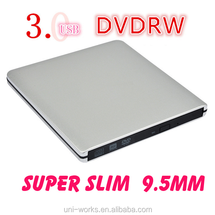 Super Slim 9.5mm USB 3.0 External aluminium DVD-RW/CD-RW Burner Recorder Optical Drive CD DVD Writer support windows10 tablet
