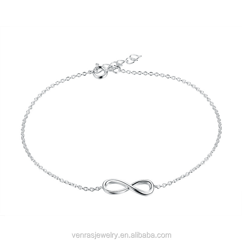Best Selling Italian 925 Silver Infinity Charm Thin Chain Bracelet for Girls