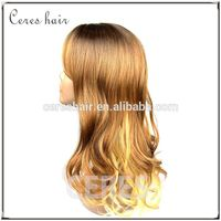 human hair kinky straight micro loop hair wig golden color long wavy/curly hair