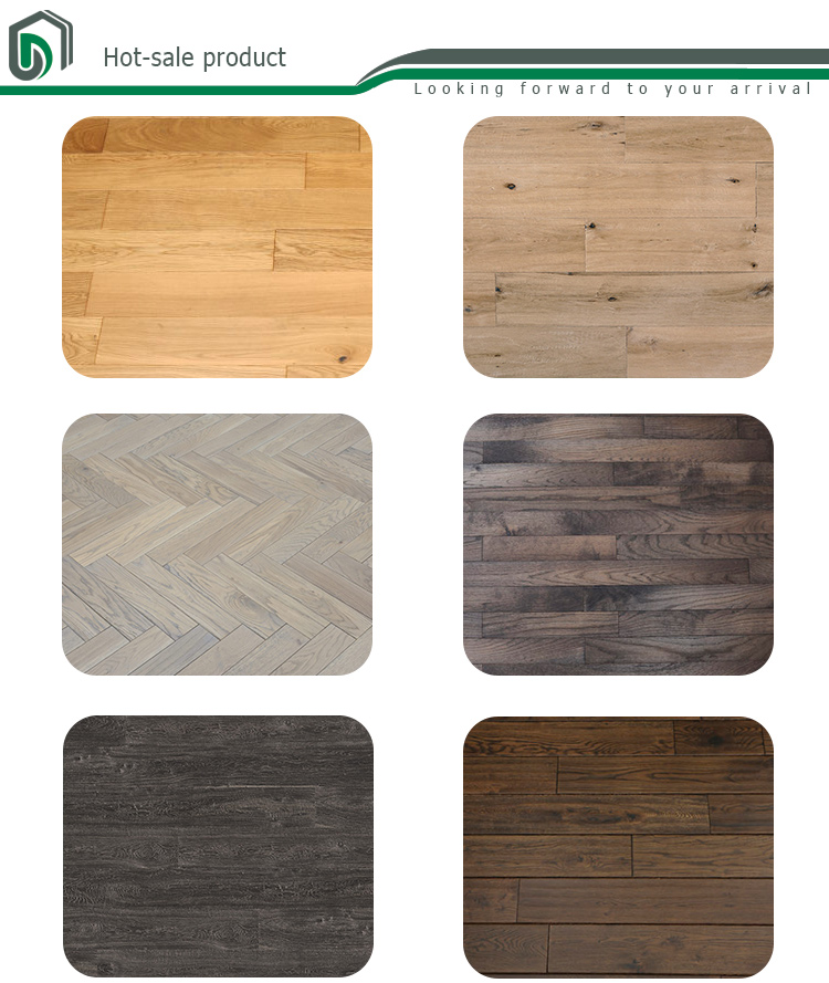 Three Layer Brushed UV Oil Gray White engineered solid hardwood flooring