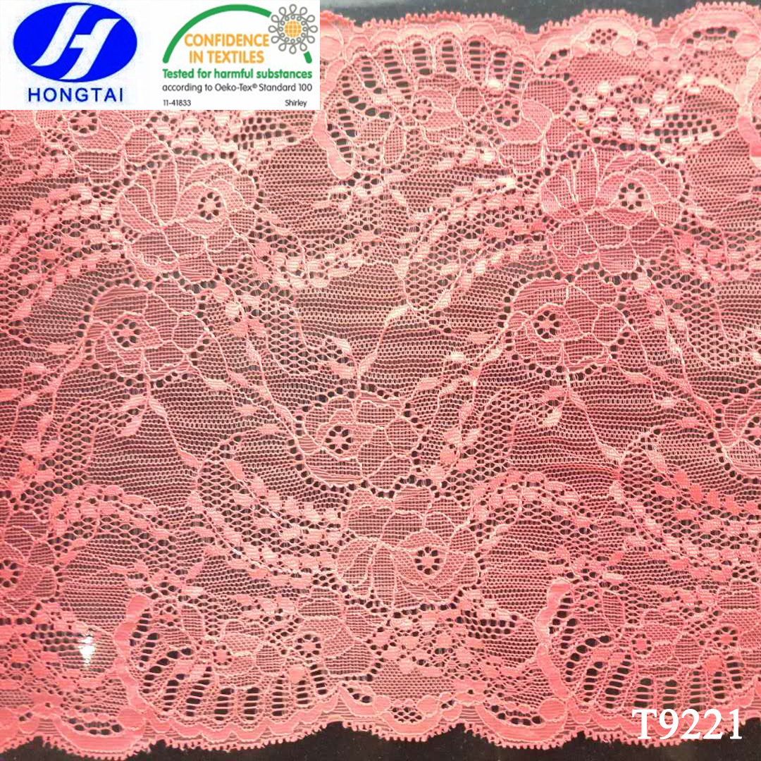 Pink Wide Nylon Spandex Double Scalloped Lace Trimming