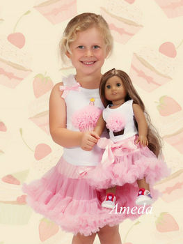"Girls Cupcake Light Pink Pettiskirt and 18"" American Girl Doll Birthday Outfit"