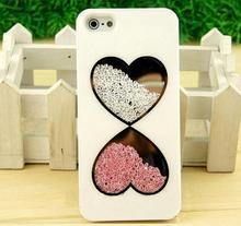 For iphone 5s bling case Cute Fashion Bling Love Heart Diamond Swarovsk Crystal Case Cover for iPhone 4 4S 5 5s (PT-I5246)