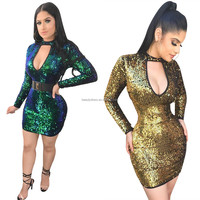 B23028A Europe Fashion shinning sexy Deep-V sequin party bandage Dress