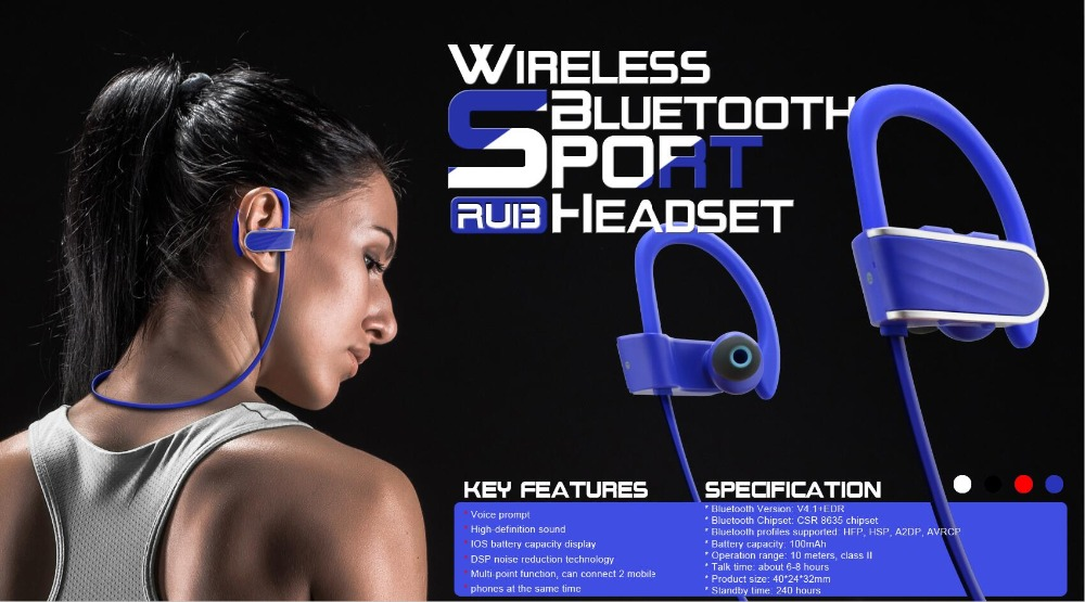 Lightweight Small Cell Phone High-end Bluetooth Earphone with MIC for Sports--RU13