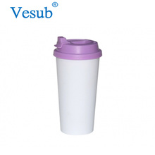 Personalized 450ml Green Plastic Melamine Double Wall Promotion Coffee Mug With Lid