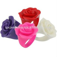 Chunky Colorful Lucite Rose Flower Cocktail Ring