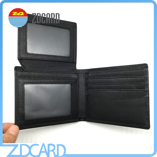 Custom Black RFID Blocking Leather Wallet for Man